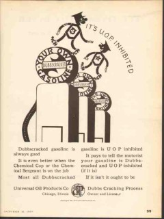 Universal Oil Products Company 1937 Vintage Ad Gasoline UOP Inhibited