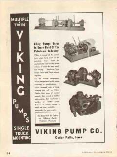 Viking Pump Company 1937 Vintage Ad Oil Field Petroleum Industry