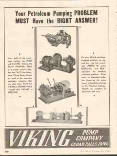Viking Pump Company 1937 Vintage Ad Oil Petroleum Pumping Problem