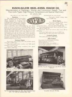 Busch-Sulzer Bros Diesel Engine Company 1936 Vintage Catalog Marine