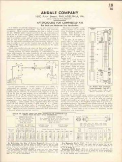 Andale Company 1936 Vintage Catalog Aftercoolers Compressed Air