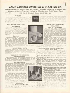 Acme Asbestos Covering Flooring Company 1936 Vintage Catalog Insulate
