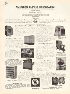 American Blower Corp 1936 Vintage Catalog Heaters Fans Sirocco Unit