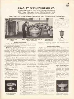 Bradley Washfountain Company 1936 Vintage Catalog Group-Washing Equip