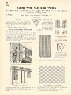 Acorn Wire Iron Works 1936 Vintage Catalog Mesh Enclosure Panels Guard