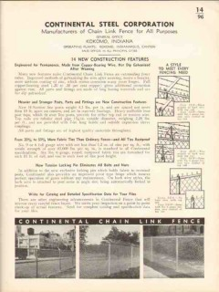 Continental Steel Corp 1936 Vintage Catalog Chain Link Fence