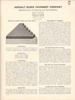 Asphalt Block Pavement Company 1936 Vintage Catalog Flooring Paving