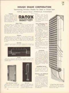 Hough Shade Corp 1936 Vintage Catalog Window Ra-Tox Ventilating Steel