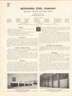 Bethlehem Steel Company 1936 Vintage Catalog Bur-Vett Vertical Lift