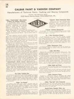 Calbar Paint Varnish Company 1936 Vintage Catalog Caulking Glazing