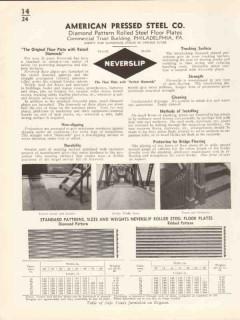 American Pressed Steel Company 1936 Vintage Catalog Floor Plates