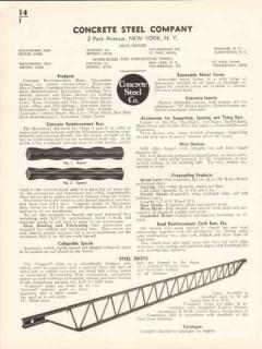 Concrete Steel Company 1936 Vintage Catalog Reinforcement Bars Joists