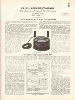 Calculagraph Company 1936 Vintage Catalog Elapsed Time Recorder Lab