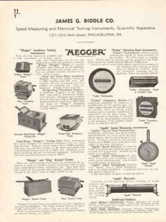 James G Biddle Company 1936 Vintage Catalog Frahm Megger Jagabi Test