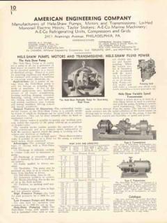 American Engineering Company 1936 Vintage Catalog Pump Motor Hele-Shaw