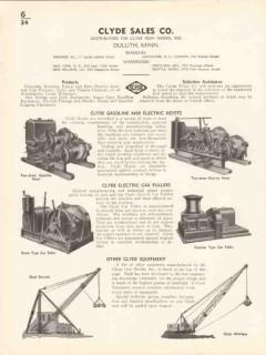 Clyde Iron Works Inc 1936 Vintage Catalog Hoists Gasoline Electric