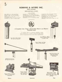 Robbins Myers Inc 1936 Vintage Catalog Trolleys Electric Hand Hoists