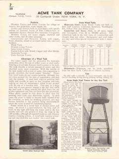Acme Tank Company 1936 Vintage Catalog Wood Vats Towers Angle Steel