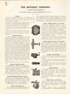 Anthony Company 1936 Vintage Catalog Heating Liquid Fuel Engineers