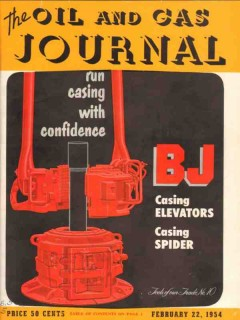 BJ Service Inc 1954 Vintage Ad Oil Field Casing Journal Magazine Cover