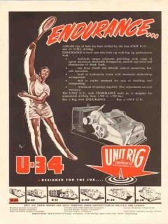 Unit Rig Equipment Company 1954 Vintage Ad Oil Drilling Endurance U-34