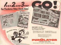 purolator products inc 1956 filter check-time save money vintage ad