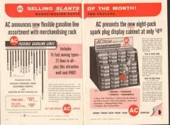 ac spark plug 1957 eight-pack display cabinet flex gas line vintage ad