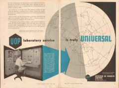 universal oil products co 1957 laboratory service quality vintage ad