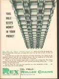 Chain Belt Company 1962 Vintage Ad Oil Rex Hole Keeps Money Pocket