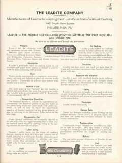 Leadite Company 1936 Vintage Catalog Jointing Material Cast Iron Pipe