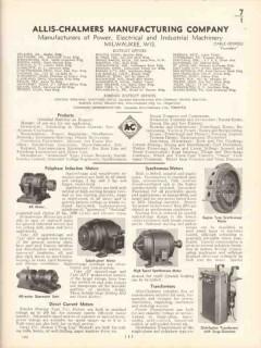 Allis-Chalmers Mfg Company 1936 Vintage Catalog DC Motors Generators