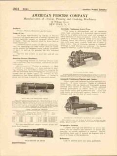 American Process Company 1916 Vintage Catalog Machinery Dry Press Cook