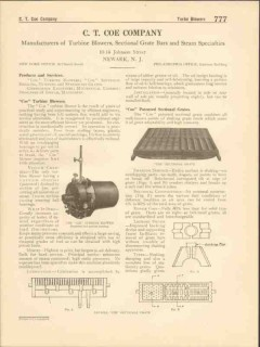 C T Coe Company 1916 Vintage Catalog Turbine Blowers Sectional Grates
