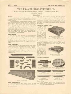 Kramer Bros Foundry Company 1916 Vintage Catalog Sewer Castings Grates