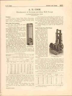 A D Cook 1916 Vintage Catalog Brass Tube Well Strainers Pumps