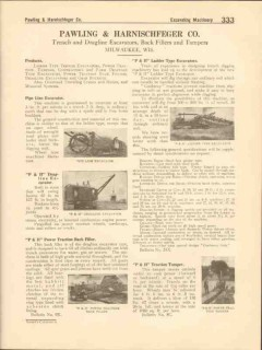 Pawling Harnischfeger Company 1916 Vintage Catalog Excavator Back Fill
