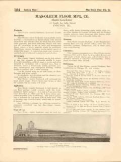 Mas-Oleum Floor Mfg Company 1916 Vintage Catalog Mastic Linoleum