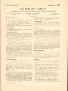 Antakwa Company 1916 Vintage Catalog Paint Waterproof Dampproof