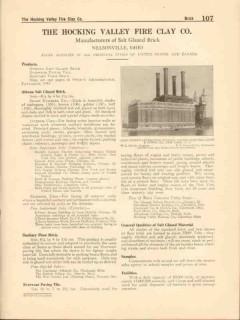 Hocking Valley Fire Clay Company 1916 Vintage Catalog Brick Salt Glaze