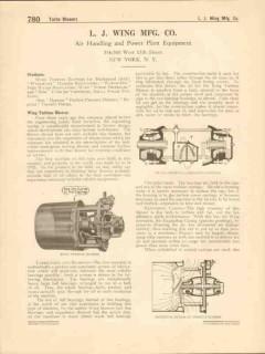 L J Wing Mfg Company 1916 Vintage Catalog Turbine Blowers Regulators