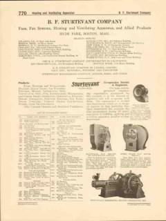 B F Sturtevant Company 1916 Vintage Catalog Blowers Fans Motors Pumps