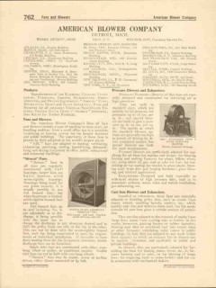 American Blower Company 1916 Vintage Catalog Fans Exhaust Ventilators