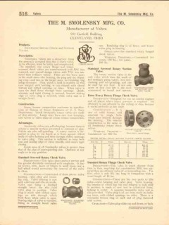 M Smolensky Mfg Company 1916 Vintage Catalog Valves Rotary Check