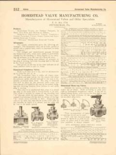 Homestead Valve Mfg Company 1916 Vintage Catalog Straightway Three-Way