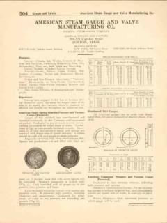 American Steam Gauge Valve Mfg Company 1916 Vintage Catalog Pressure