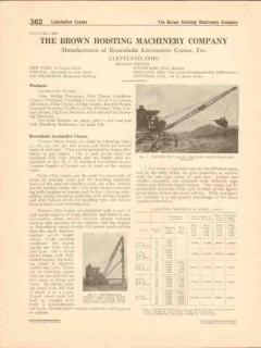Brown Hoisting Machinery Company 1916 Vintage Catalog Locomotive Crane