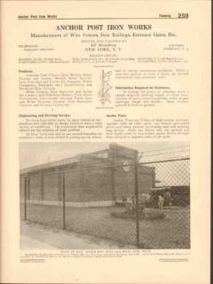 Anchor Post Iron Works 1916 Vintage Catalog Chain Link Fences Gates