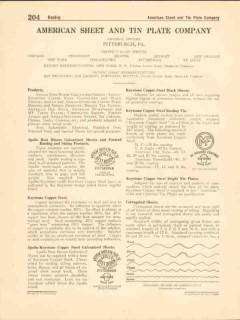 American Sheet Tin Plate Company 1916 Vintage Catalog Apollo Best Boom