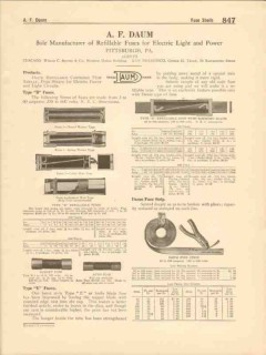 A F Daum Company 1916 Vintage Catalog Electric Refillable Fuses Power