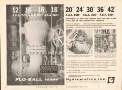 Hydromatics Inc 1962 Vintage Ad Oil Flo-Ball Valves Gas Chemical Pipe